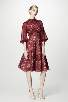 Attend the next wedding you go to in this burgundy, lace dress! Shop this look on Farfetch.com!