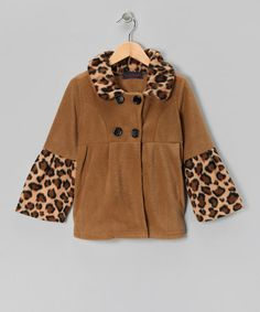 Take a look at this Giovanni Taupe Leopard Bell-Sleeve Fleece Coat - Girls by Giovanni on #zulily today!