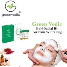 Green Vedic Best Facial Kit For Skin Whitening Gold Facial Kit, Ayurvedic Hair Oil, Skin Rash, Moisturizer For Dry Skin, Skin Whitening, New Skin, Acne Scars, Healthy Skin, Green