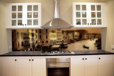 Black & White Print GlassSplashback | Coloured Glass Splashbacks ...