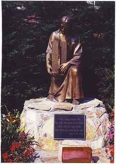 "This statue of Jesus holding the Twin Towers is in the churchyard of St. Ephrem's RC Church in the Bay Ridge neighborhood of Brooklyn , New York. It's plaque reads: ""I will never forget you.  See, upon the palms of my hands I have written your name; your walls are ever before me."" ~Isaiah 49:15-16"