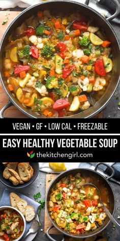 This EASY, HEALTHY VEGETABLE SOUP is packed with nutrients from 10 types of veggies! Customize this veggie soup with ANY vegetables or your favorite protein #vegetablesoup #souprecipes #healthysoup #vegansoup #mealprep #veggiesoup
