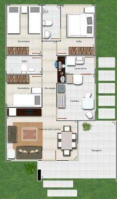 Plano de casa sencilla de 110 m2