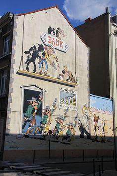 Lucky Luke, 3d Street Art, Street Art Graffiti, Street Artists, Banksy, Ligne Claire, Morris, Mural Painting, Land Art