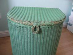 Green LLOYD LOOM Retro LAUNDRY/LINEN BASKET Original 'LUSTY' label - 1950's | eBay