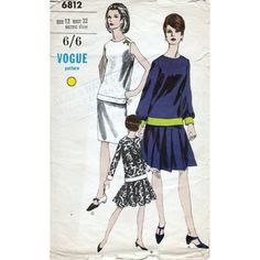 60s Vogue two piece dress sewing patterns 6812, Bust 32 inches, circle skirt