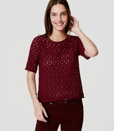 In a lace inspired cotton knit, a tee silhouette makes this can't-resist feel totally fresh - and easy. Add a cami beneath for more coverage. Lace Sweater, Sweater Shop, Fall Fashion 2016, Autumn Fashion, Petite Sweaters, Work Shirts, Embroidered Lace, Tunic Tops, Stylish