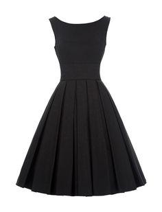 1950s Vintage Style Elegant Pleated Dress - Black