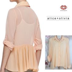 """🌟2 x HP⭐ALICE+OLIVIA SILK BUTTON DOWN Business in the front, party in the back classic blouse with sleeves that can be rolled and tacked. Pale orange color (pastel peach, true on pics). Buttons up center front, collard shirt, flirty peplum detail at back.  Fabric: 96% silk, 4% spandex (info taken from website, tag removed for comfort) Excellent condition. Absolutely no flaws:). Measurements: Size. S. Length: 27.5"""" armpit to armpit: 19"""". Semi sheer (works with any white or neutral tank…"""