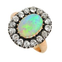 Victorian Opal Diamond Silver Gold Cluster Ring | From a unique collection of vintage cluster rings at https://www.1stdibs.com/jewelry/rings/cluster-rings/