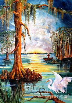 Louisiana Bayou by Diane Millsap - Louisiana Bayou Painting - Louisiana Bayou Fine Art Prints and Posters for Sale