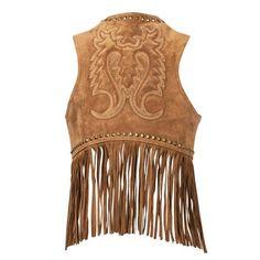Women's suede leather vest with tribal pattern on back. Durango® Women's Spring Bear Fringe Vest with suede leather fringe. Western Outfits, Western Wear, Leather Vest Outfit, Cowgirl Style, Western Style, Cowgirl Fashion, Cowgirl Chic, Cowgirl Hats, Winter Leather Jackets