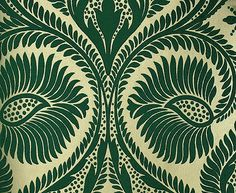 Osborne and Little Dryden Flock Wallpaper Large scale damask flock in green on gold mica background Flock Wallpaper, Damask Wallpaper, Pattern Wallpaper, Osborne And Little, Textile Patterns, Textiles, Tampons, Wall Treatments, Retro Design