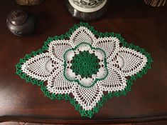 Handmade Green Doily  French Country Decor  by MyVintageSoulByRuth