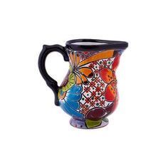 NOVICA Handcrafted Painted Floral Ceramic Pitcher from Mexico (93 BRL) ❤ liked on Polyvore featuring home, kitchen & dining, serveware, homedecor, pitchers & decanters, tableware & entertaining, floral pitcher, ceramic pitcher, ceramic tableware and novica