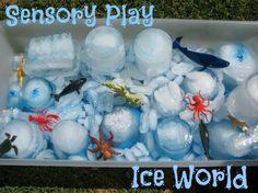Sensory Play - ICE WORLD - A tub filled with ice, water, food colouring and sea themed props. (learning4kids.net)