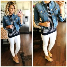 Take a look at the best outfits with denim jeans in the photos below and get ideas for your college fall outfits Perfect Denim Jacket // Cropped Denim Jacket // Closet Staple Piece // White Jeans Outfit // Nautical… Continue Reading → Cropped Denim Jacket Outfit, Jean Jacket Outfits, Outfit Jeans, Denim Jacket Outfit Winter, Nautical Outfits, Casual Outfits, Cute Outfits, Work Outfits, Dress Outfits