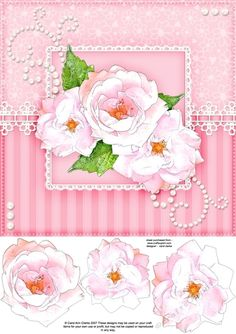 8x8 A Touch of Elegance Roses Pearls and Lace Quick card front with 3D…