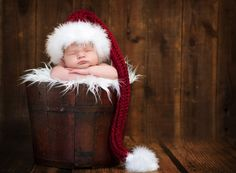 Christmas Baby Hat, Holiday hats, Photo Prop, Stocking Cap with Fur Trim - Garnet, Red and White. $50.00, via Etsy.