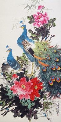 Peacocks and Peony Chinese Painting