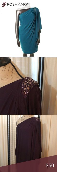 Elegant evening dress One shoulder cocktail party dress.  Beaded shoulder with winged sleeve.  Beautiful plum color.  Inner rubber banding to prevent slipping around bodice.  Cover shot is for example only.  All other photos are of actual sale garment. R&M Richards Dresses One Shoulder