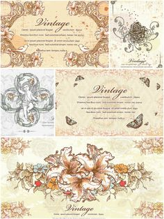 Vintage flowers and ornaments set vector | CGIspread | Free download