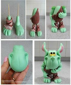 Everything from making characters to simple bows from fondant or other yummy things. Fondant Figures Tutorial, Cake Topper Tutorial, Cake Toppers, Polymer Clay Animals, Fimo Clay, Polymer Clay Projects, Clay Monsters, Decoration Patisserie, Fondant Animals