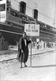 A Tunisian tour guide posing with his official P & O sign, Bizerte, Tunisia by National Maritime Museum, via Flickr. SS Viceroy of India