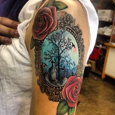Creepy cemetery scene #InkedMagazine #creepy #cemetary #frame #roses #tattoo #tattoos #Inked #ink