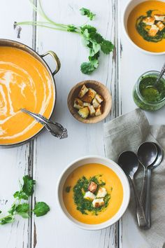 The Bojon #Gourmet: Roasted Yellow Tomato #Soup with Green #Harissa + Halloumi Croutons, and a Round-Up