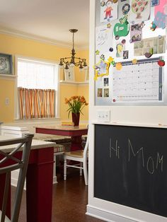 Establish a message center near the kitchen telephone. Put a bulletin board, chalkboard, or whiteboard on the wall, and store a calendar, notebook, and writing utensils in a nearby drawer