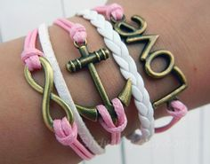 Cute pink wax rope LOVE anchor infinite hope by Colorbody on Etsy, $10.29