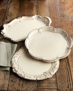 Use Chalk Paint by Annie Sloan in Old Ochre and paint silverplated trays to get this look.