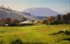 Sofala at Dawn - 90 x 60 © Copyright John Wilson Landscape Art, Landscape Paintings, Oil Paintings, John Wilson, Country Scenes, Arts Ed, Blue Mountain, Australian Artists, Fresco