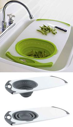 An All-in-One Over-the-Sink Cutting Board.  OMG I want one of these