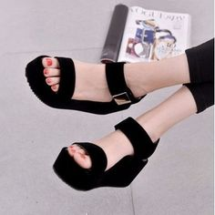 Black Pu Korean Style Metal Platform Hook Loop Peep Toe Gladiator Sandals