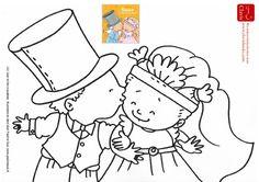 Kleurplaat Saar en het trouwfeest - Pauline Oud Illustraties - Clavis Uitgeverij.