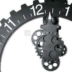 Wheel Gear Design Reversed Wall Clock Decoration Black (QWN133)