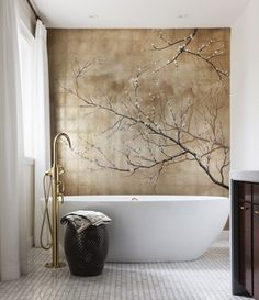 renovated bath with silver and gold-leaf wall mural - HouseandHome via Atticmag