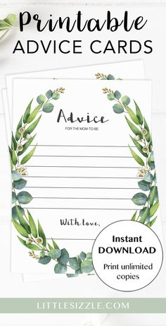Advice Cards for mom-to-be by LittleSizzle. Printable advice card for the new mom or new parents with watercolor green leaves. These advice cards are perfect for any gender neutral or garden baby shower party with large groups of guests. Let every guest write down their words of advice for the new mommy. Complete this greenery baby shower activity with our matching advice card sign. #printable #advicecards #babyshowerideas #greenery #botanical #genderneutral #DIY