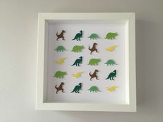 paper dinosaurs wall art/ home decor/ personalised art/ baby nursery / kids gift/ boy gift/ girl gift/ wall decor/ birthday Dinosaur Images, Kid Names, Green And Brown, Kids Bedroom, Different Colors, Paper Art, Unique Jewelry, Handmade Gifts, Yellow