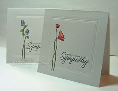 """CAS. Simple single stem. Color pencil. Sentiment. Dry-embossed """"frame"""". --Bethany Paull at SCS."""