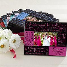 bridesmaidframe Think Outside The Gift Box: Bridal Shower Fun! Creative Wedding Gifts, Gifts For Wedding Party, Our Wedding, Dream Wedding, Wedding Stuff, Fantasy Wedding, Wedding Favors, Cheap Bridesmaid Gifts, Personalized Bridesmaid Gifts