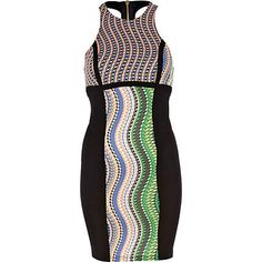 get a standout party look in this black print panelled bodycon dress