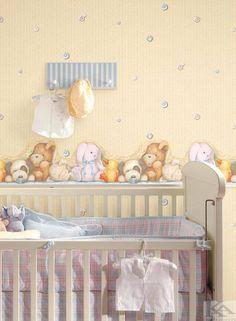 Peek a Boo Nursery Wall Border Yellow Modern Wallpaper, Kids Wallpaper, Ideas Habitaciones, Wall Borders, Gifts For Pet Lovers, Unusual Gifts, Peek A Boos, Baby Love, Nursery Decor