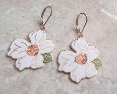 White Floral Earrings Large Enamel Cloisonne Matilija Poppy Vintage V0803 by cutterstone on Etsy