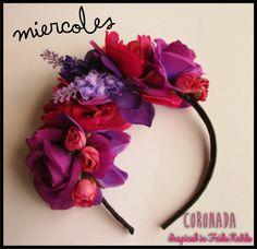 Vinchas con flores.  Inspiradas en Frida Kahlo.  www.facebook.com/accesorioscoronada