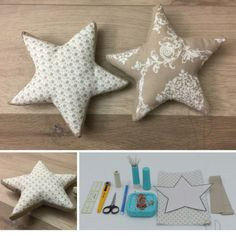 How to sew padded stars - Sara Poiese- Come cucire le stelline imbottite – Sara Poiese 000 – how to sew the padded starlet – sara poiese - Sewing Tutorials, Sewing Projects, Craft Projects, Free Sewing, Hand Sewing, Easy Crafts, Diy And Crafts, E Piano, Sewing Accessories