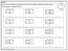 math worksheet : printable kindergarten worksheets  printable kindergarten math  : Domino Math Worksheet