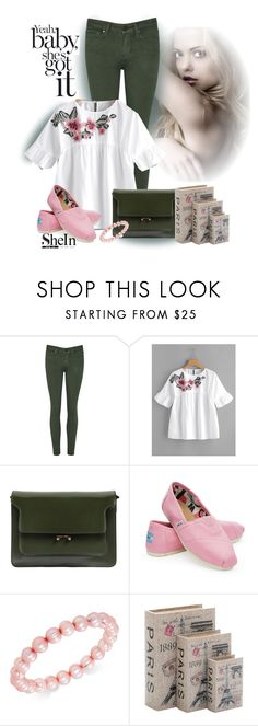 """Shein embroidered flower embellished Ruffle Sleeve Baby doll top"" by lorrainekeenan ❤ liked on Polyvore featuring Marni, TOMS, Honora and Home Decorators Collection"